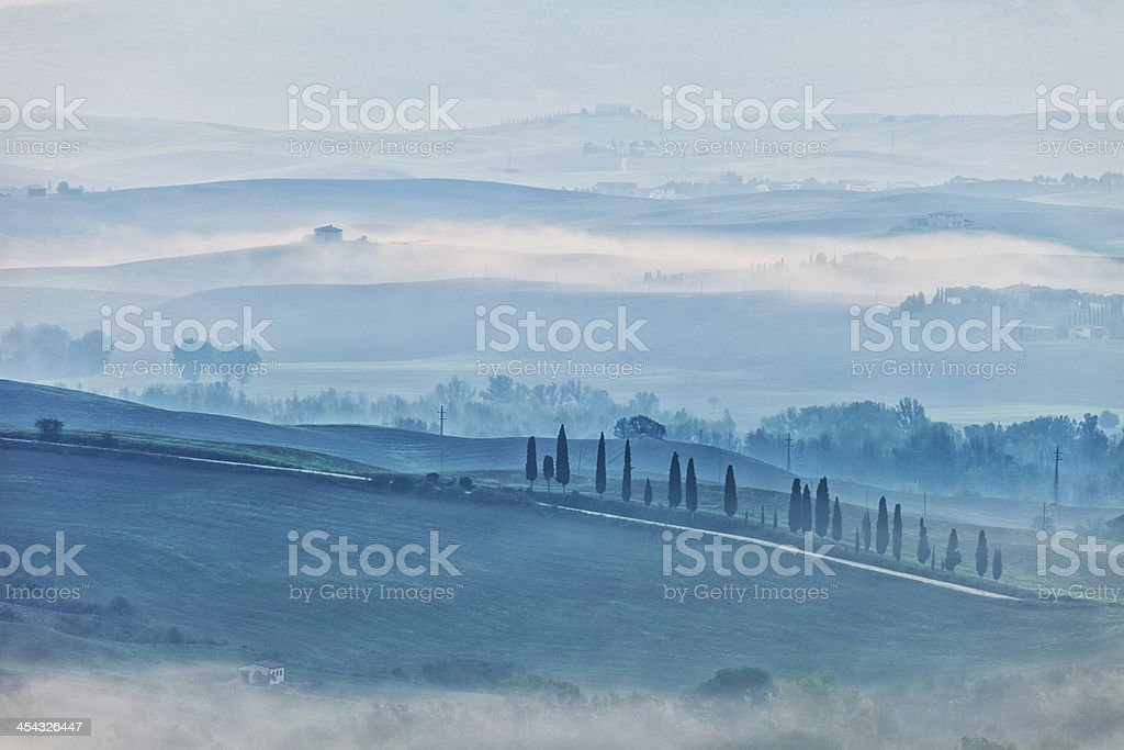 Morning Mist in Tuscan Landscape royalty-free stock photo