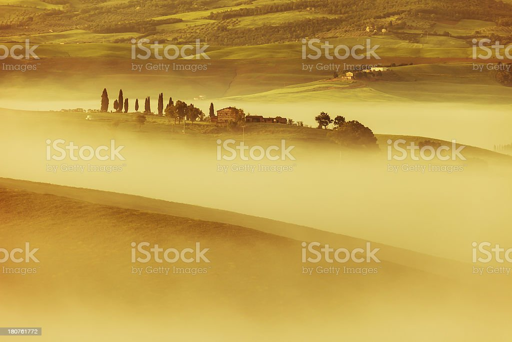 Morning Mist in Tuscany, Italy royalty-free stock photo