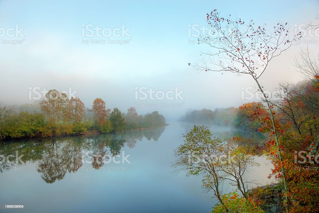 Morning Mist on the James River in Virginia stock photo