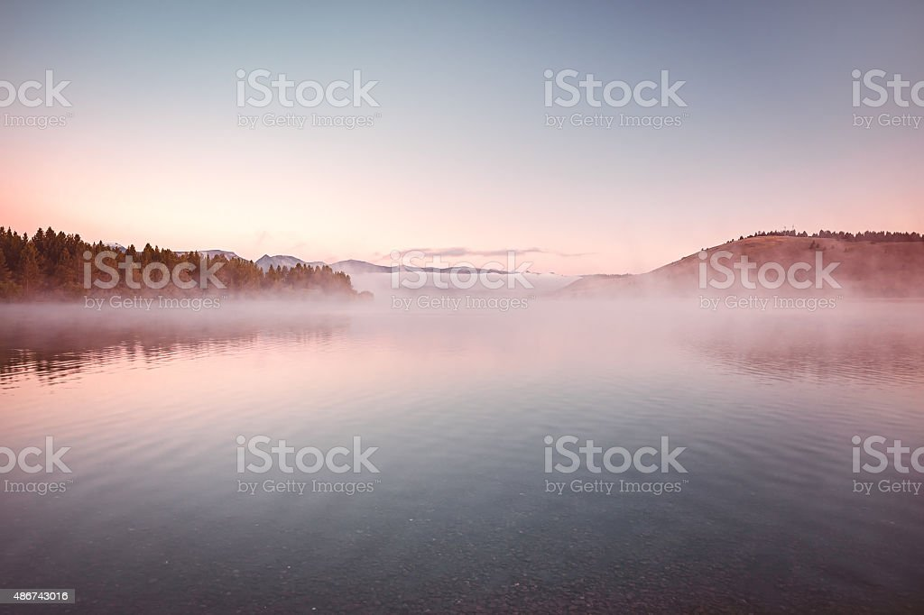 Morning Mist on the Lake stock photo