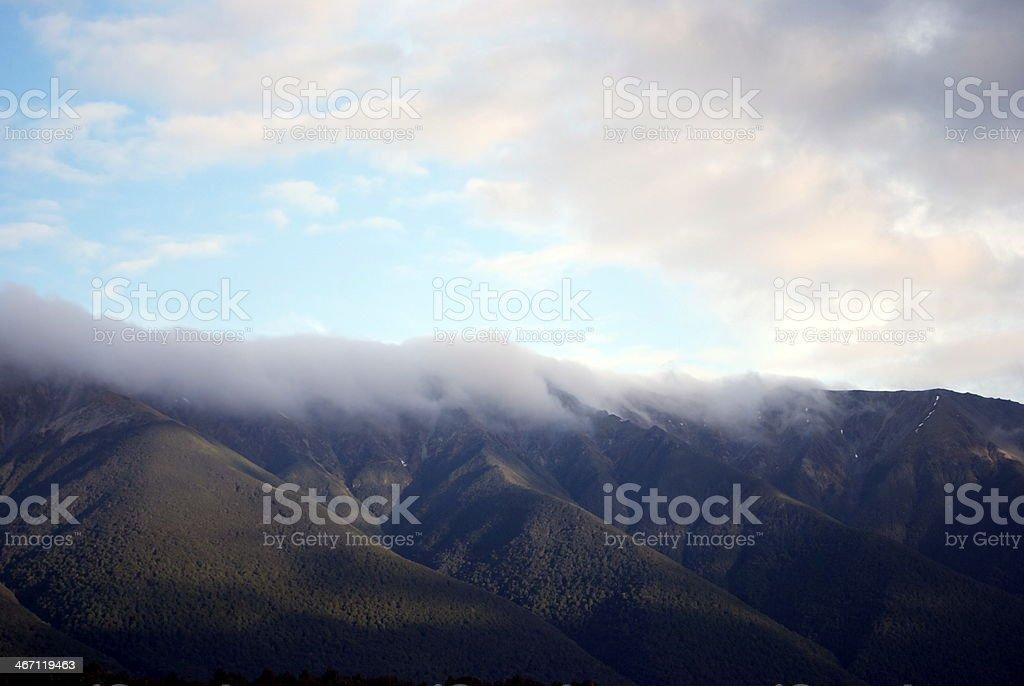 Morning Mist on the St Arnaud Ranges, New Zealand royalty-free stock photo