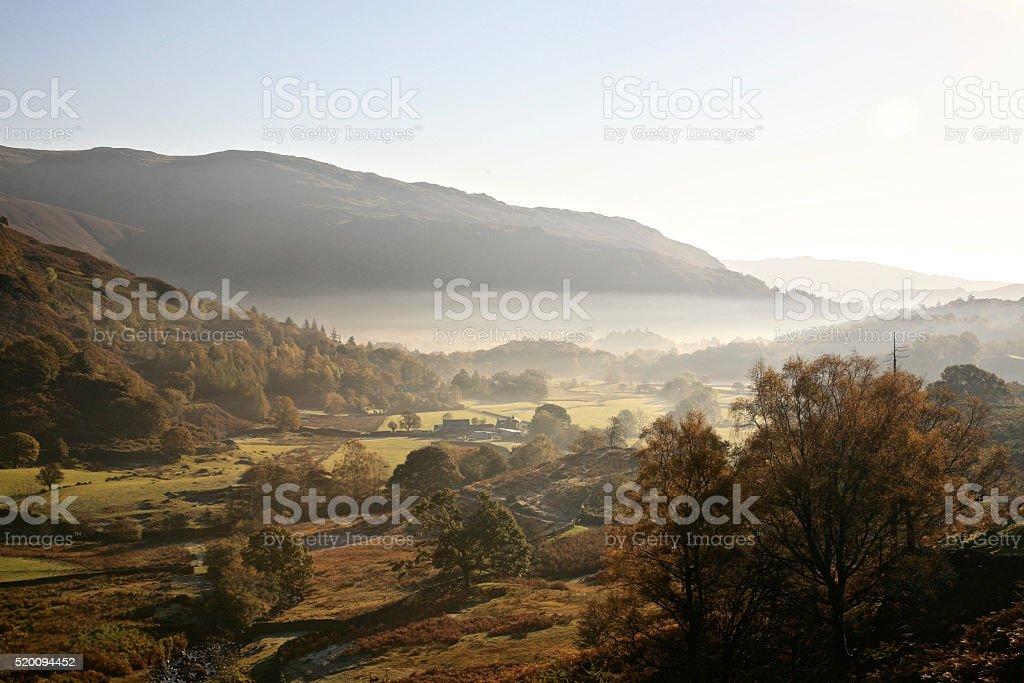 Morning Mist over Easedale stock photo