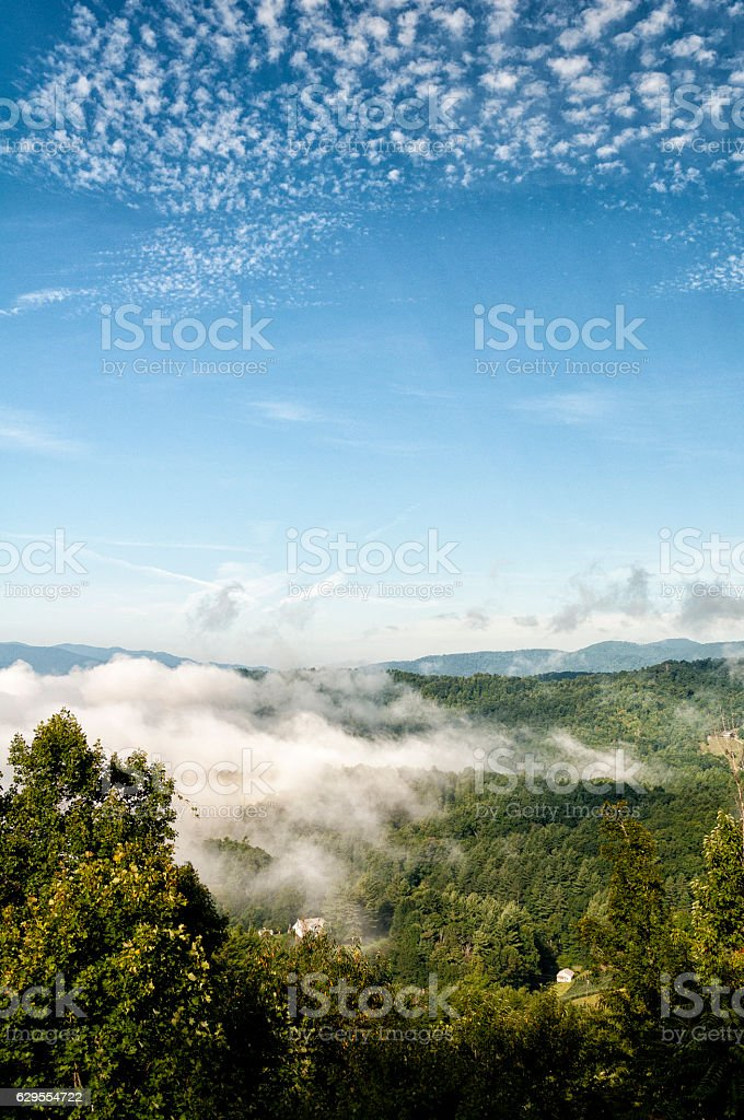 morning mist over the Blue ridge mountains stock photo