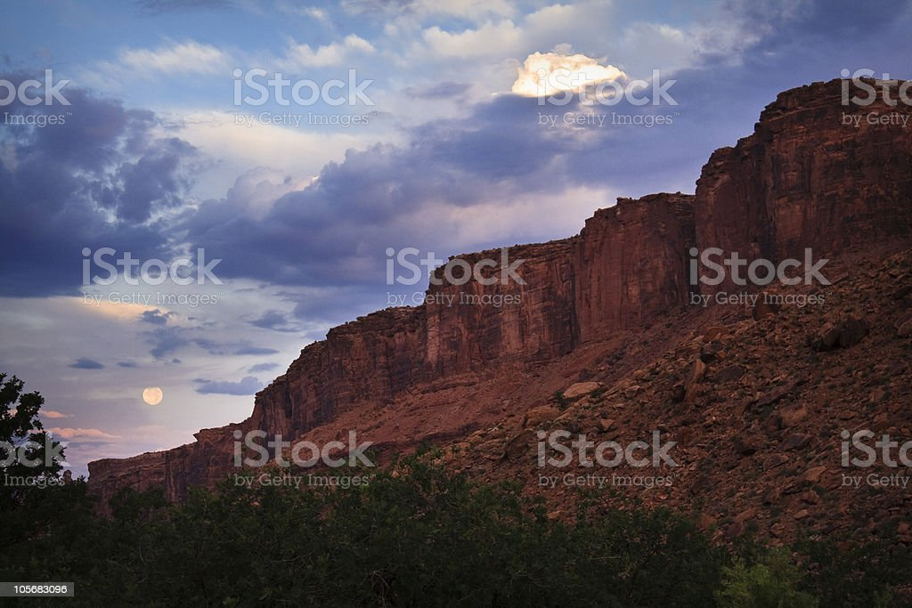 Morning Moon over Canyons royalty-free stock photo
