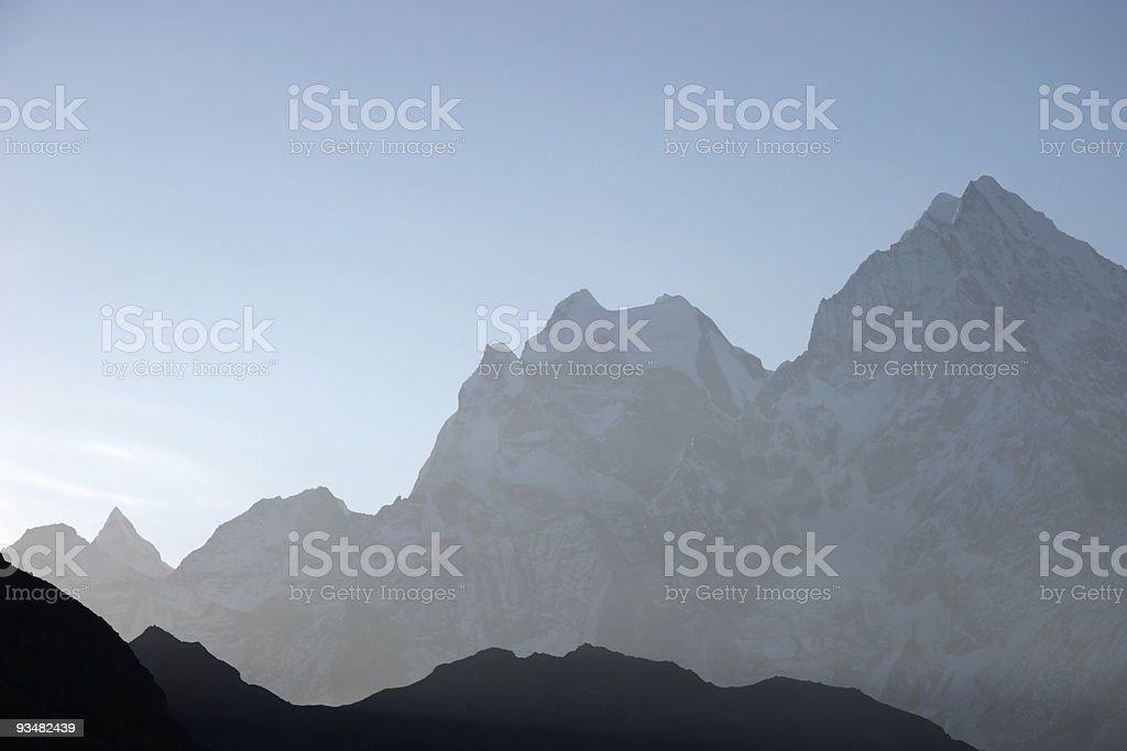Morning mountains silhouettes, Himalaya, Nepal royalty-free stock photo