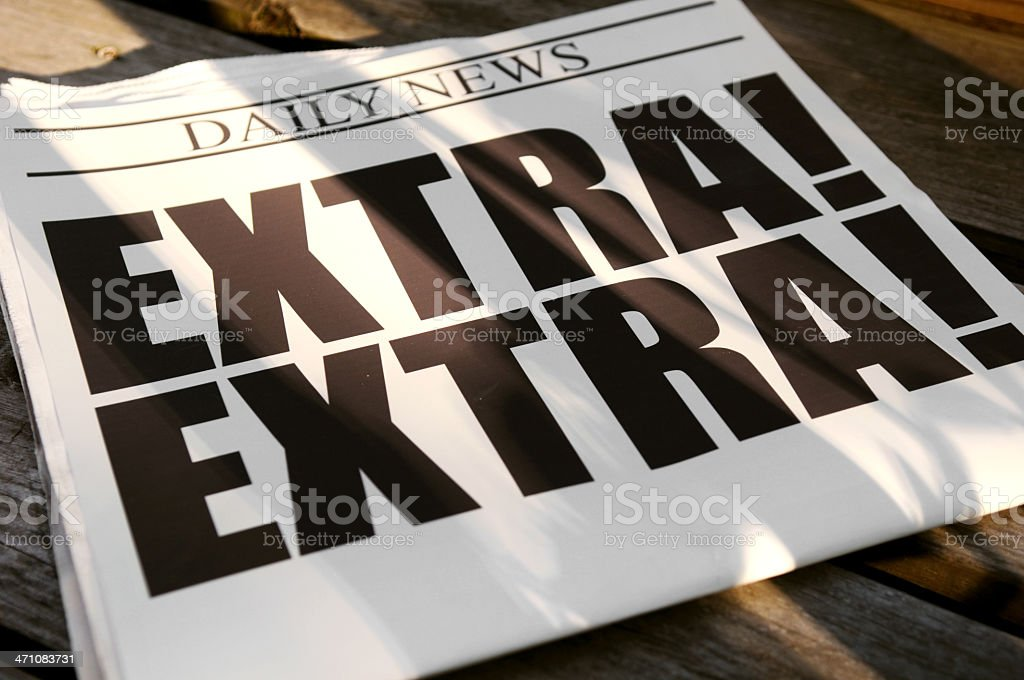 Morning News on Wood Porch royalty-free stock photo