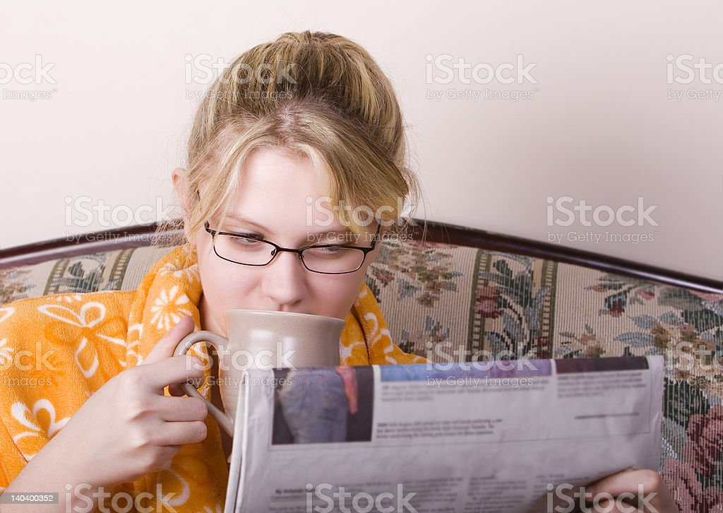 Morning news with coffee royalty-free stock photo