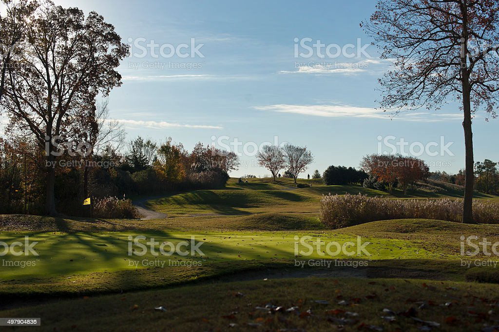 Morning on a fall golf course stock photo