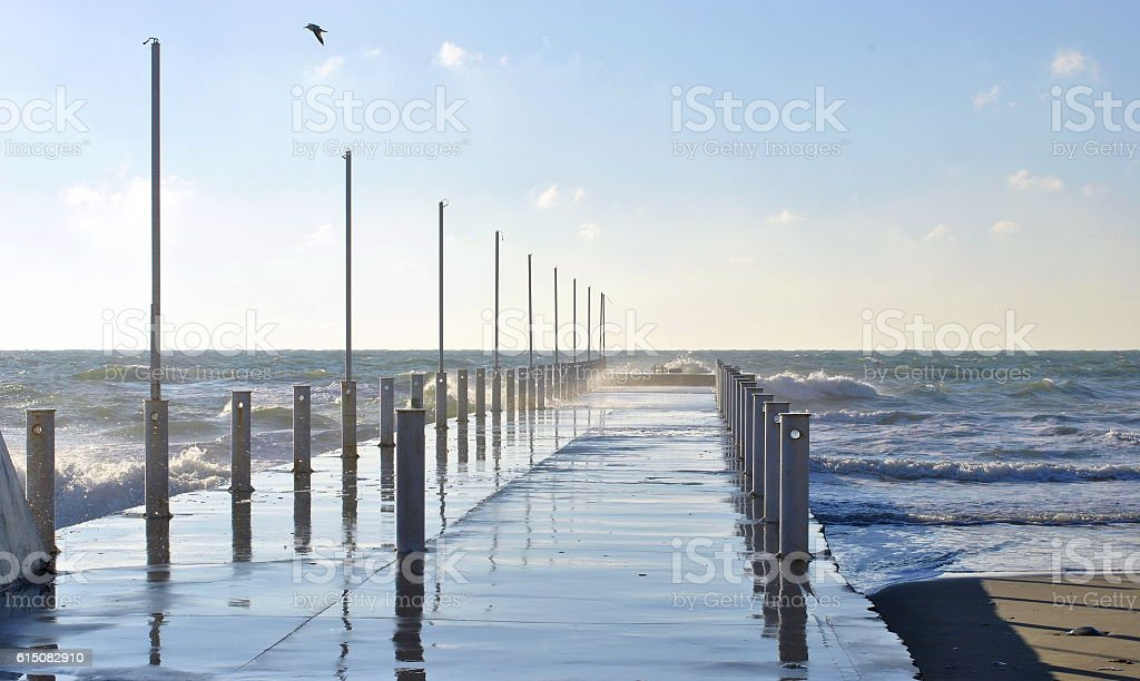 morning on a stormy sea stock photo