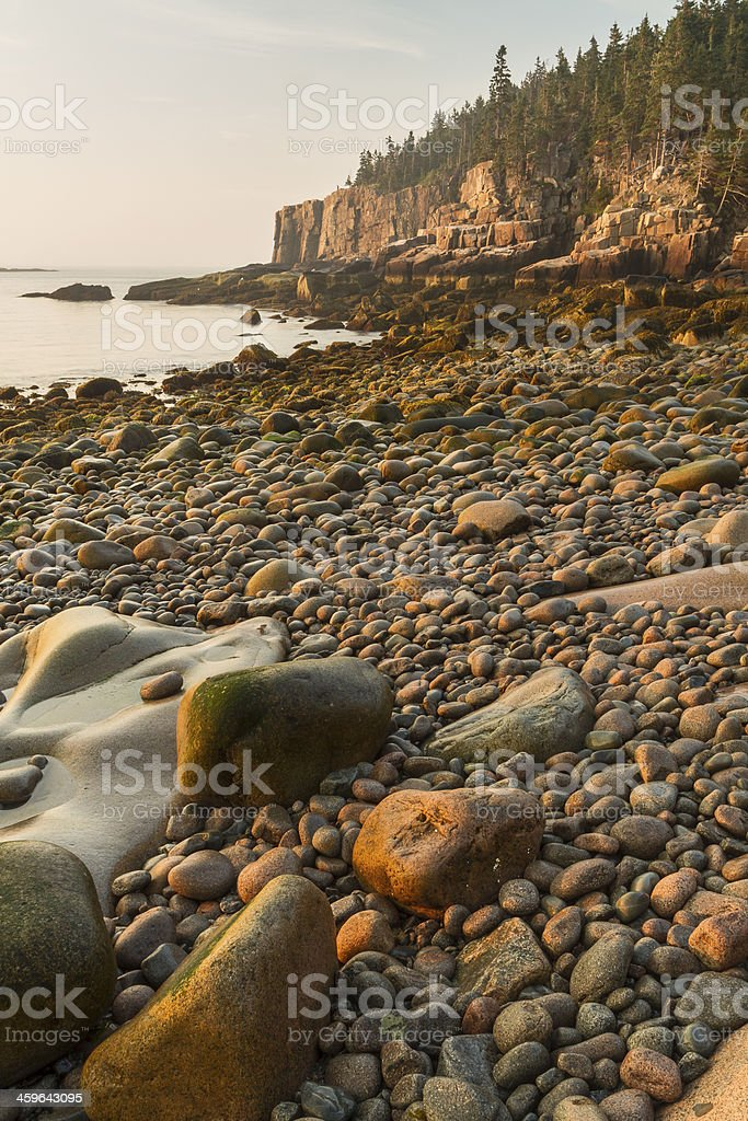 Morning on Acadia Boulder Beach stock photo