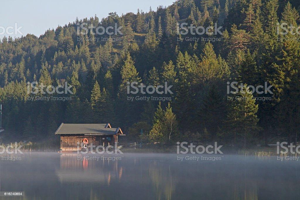 morning on lake Ferchensee stock photo