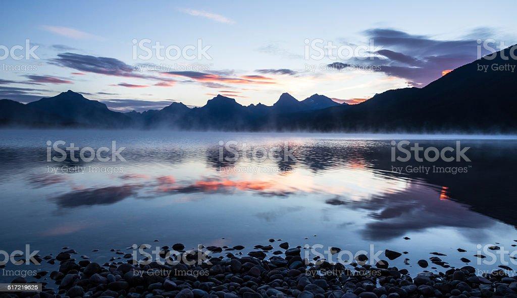 Morning on Lake McDonald stock photo