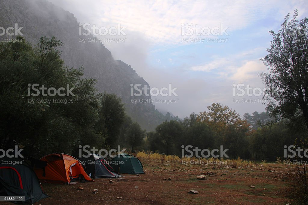 Morning on montain camp stock photo