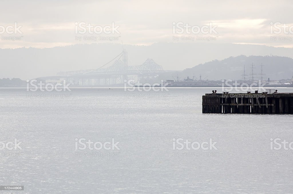 Morning on SF Bay with bridge in mist royalty-free stock photo