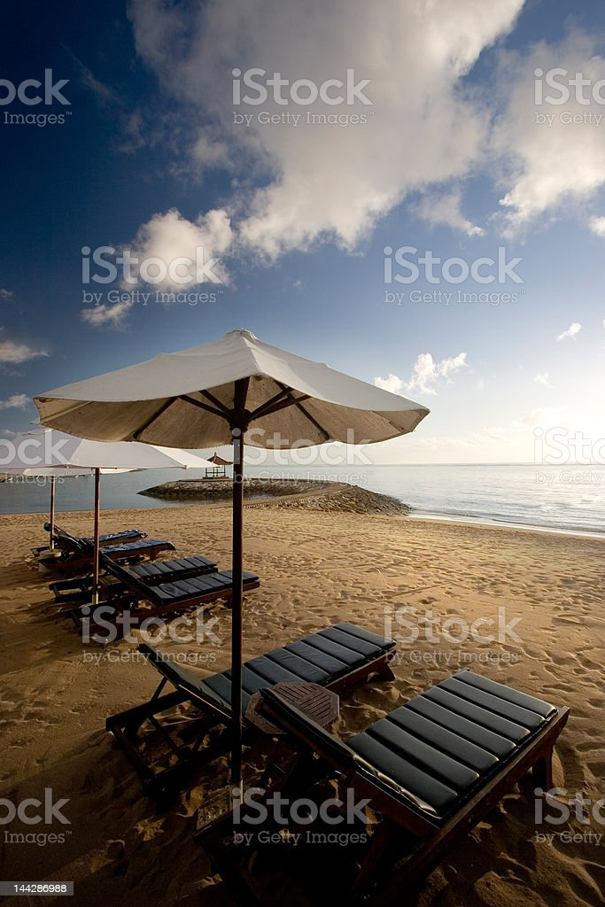Morning on the beach first sun ray royalty-free stock photo