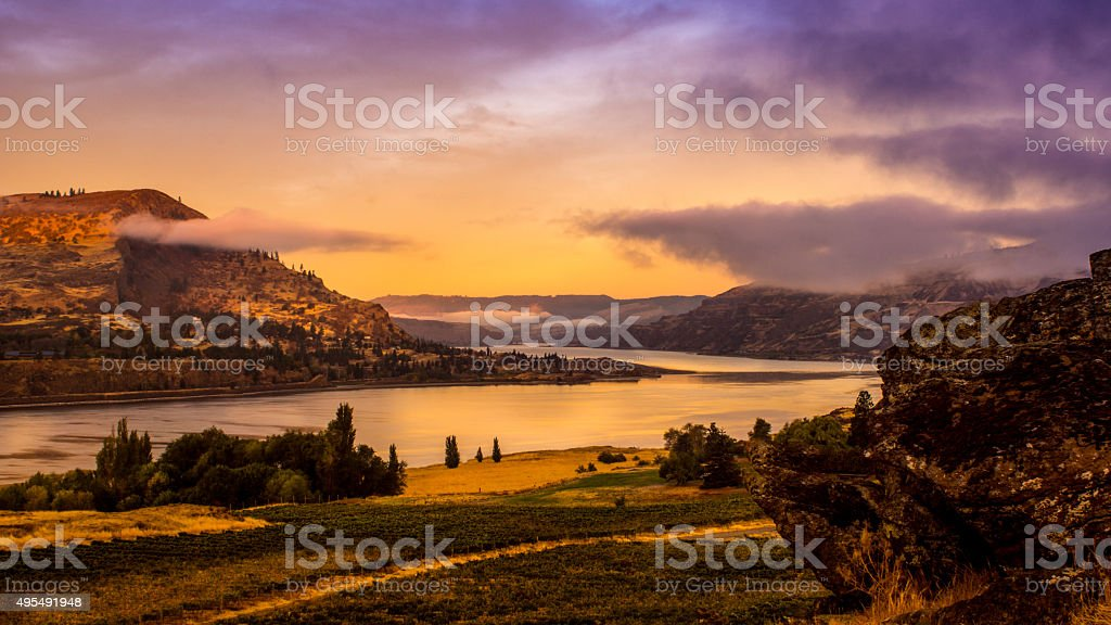 Morning on the Columbia River stock photo