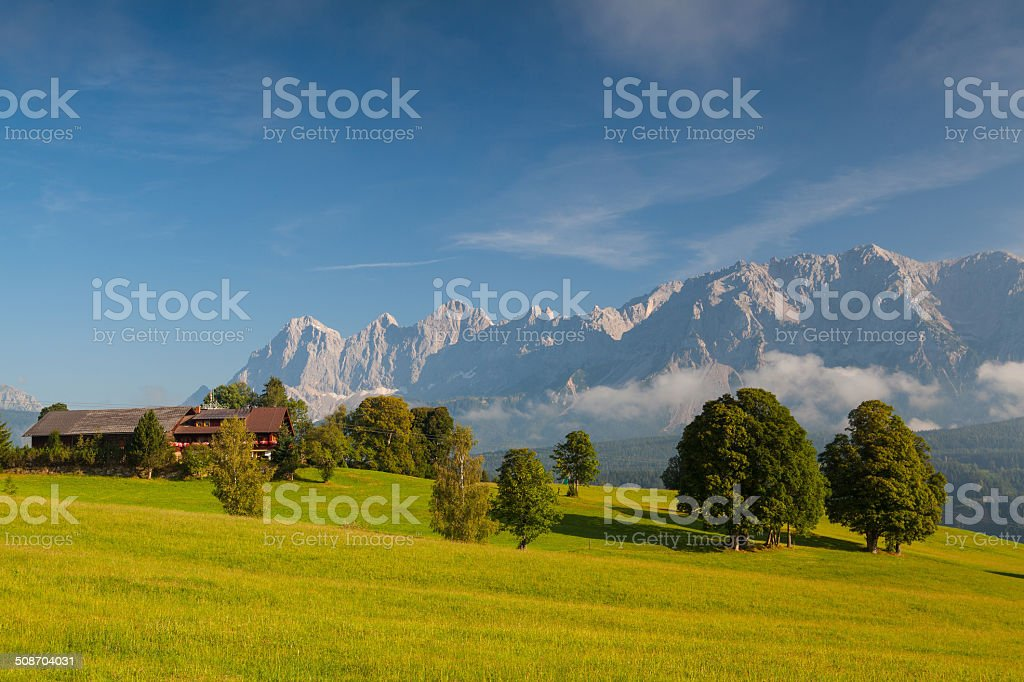 Morning on the mountains stock photo