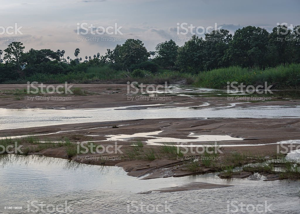 Morning over sand banks in Vennar River. stock photo