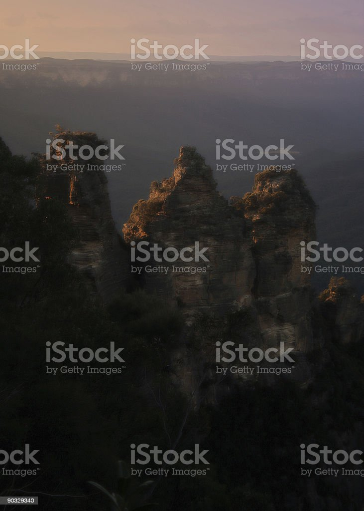 morning over the blue mountains stock photo