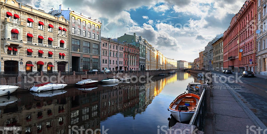 Morning over the Moika River in Saint Petersburg stock photo