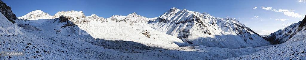 Morning panorama from Alay (Ali, Alaj) mountains - Kyrgyzstan stock photo
