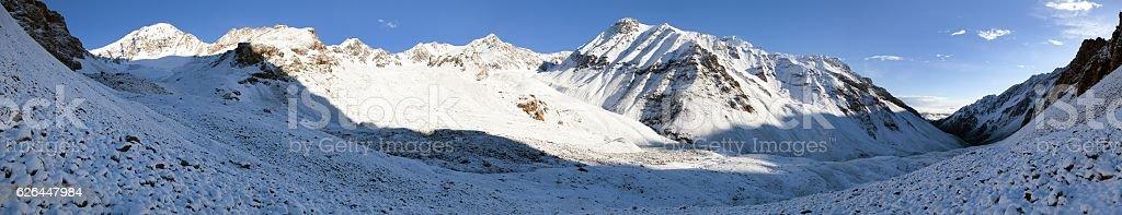 Morning panorama from Alay (Ali, Alaj) mountains stock photo