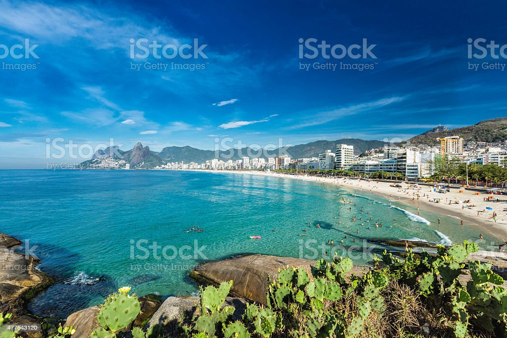 Morning panorama of Ipanema Beach in Rio de Janeiro stock photo