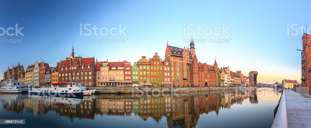 Morning panoramic scenery of Gdansk old town in Baltic Poland stock photo