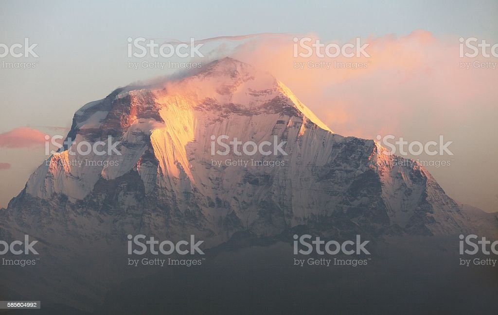 Morning panoramic view of Mount Dhaulagiri from Poon Hill stock photo
