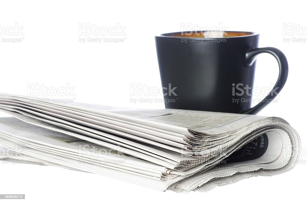 Morning Paper and Coffee royalty-free stock photo