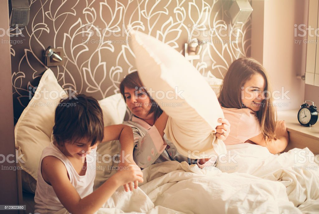 Morning pillow fight stock photo