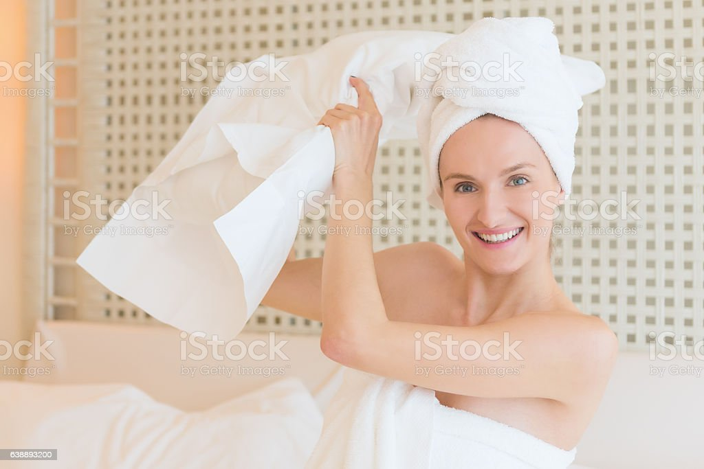Morning pillow fight ! stock photo
