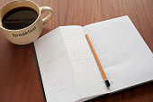 Morning planning with cup of coffee