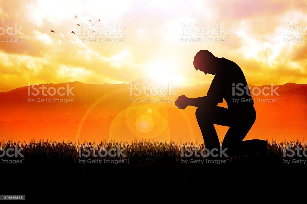 Morning Pray At Beautiful Landscape stock photo