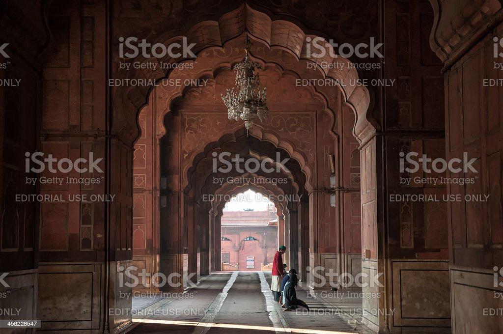 Morning prayer at Jama Masjid stock photo