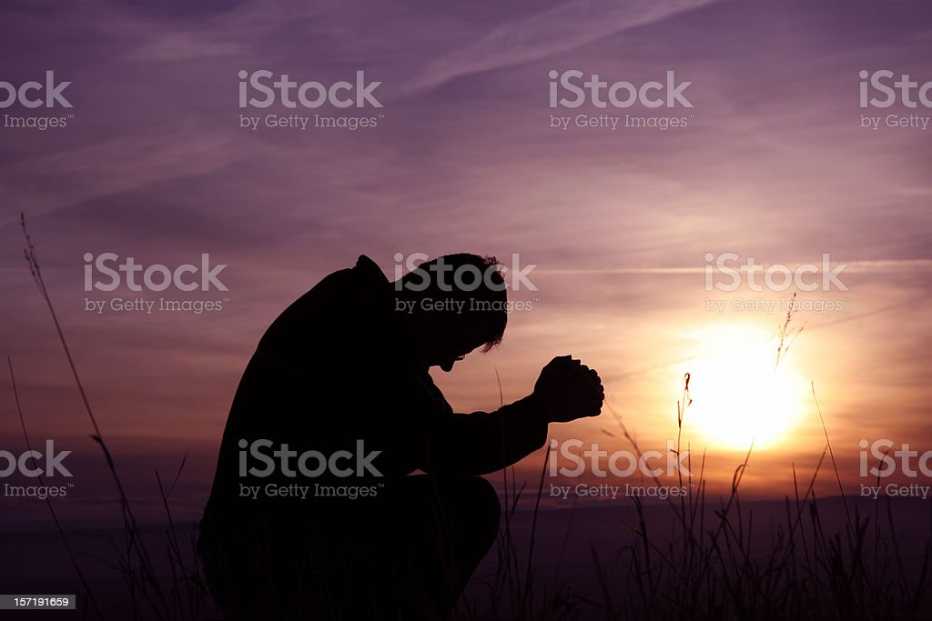 Morning Prayer Silhouette royalty-free stock photo