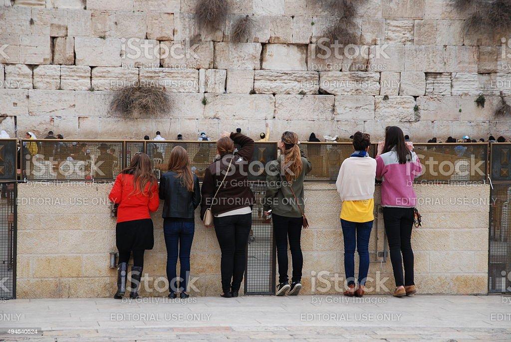 Morning prayers in Western Wall of Jerusalem stock photo