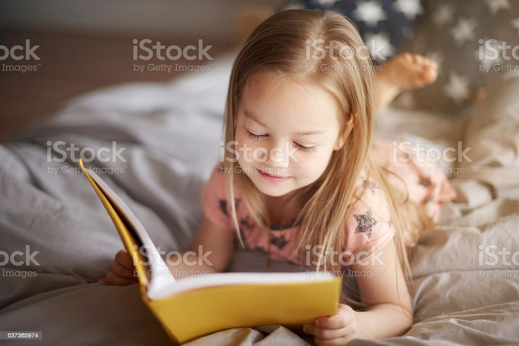 Morning reading of favorite book stock photo