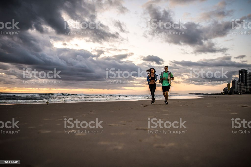 Morning Recreation on a Beach stock photo