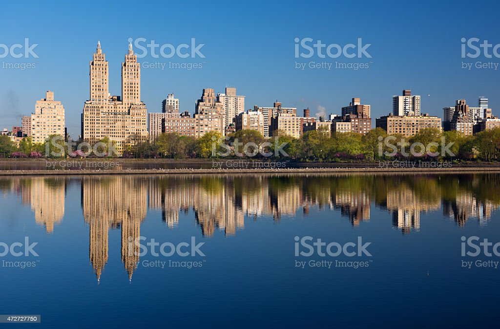 Morning reflections of the Central Park West skyline stock photo