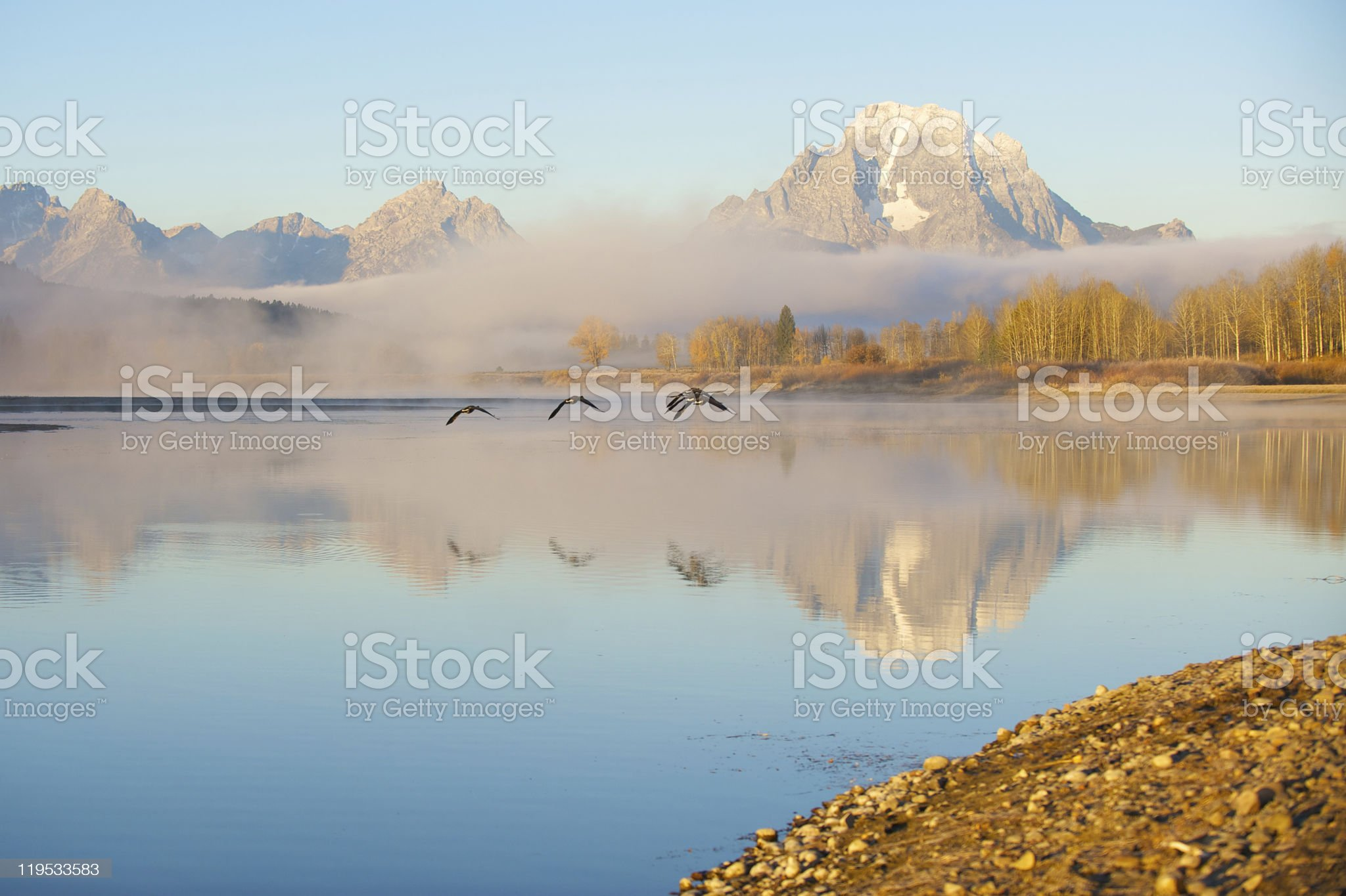 Morning reflections on the Snake River royalty-free stock photo