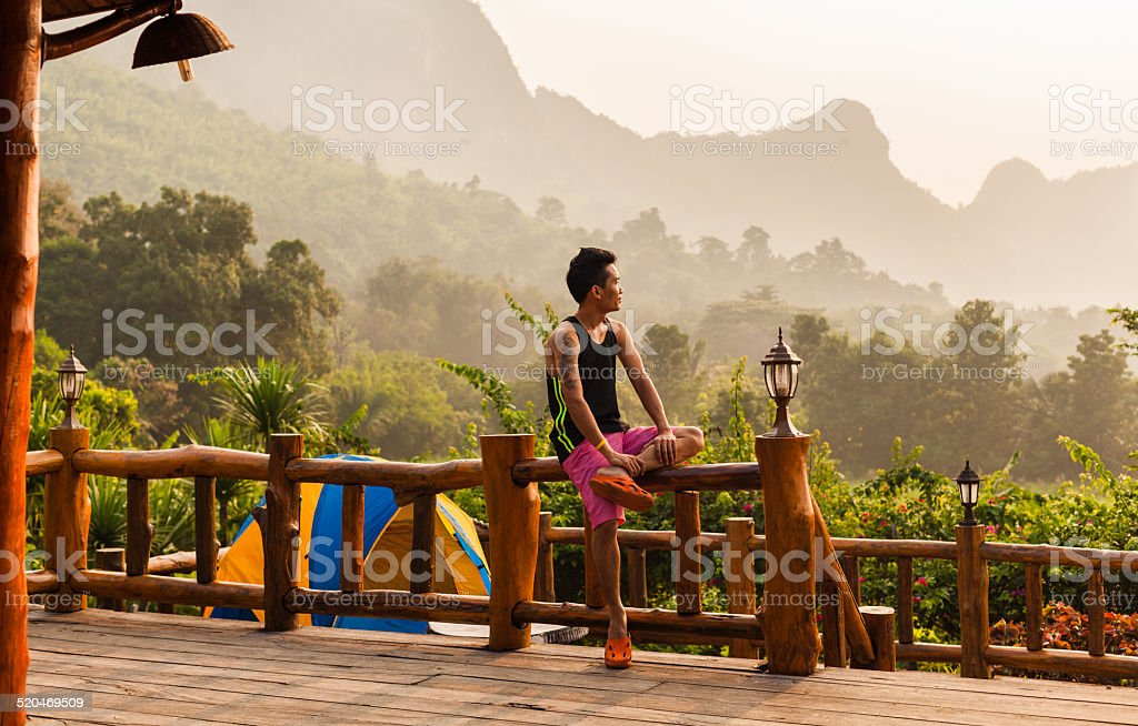 Morning rest in the nature stock photo