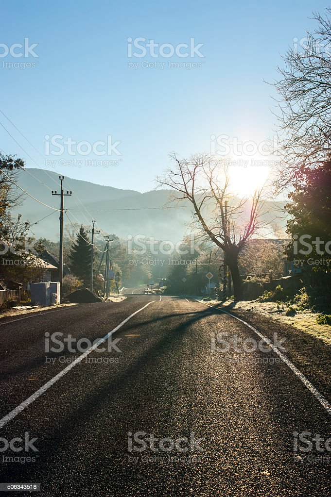 Morning road. stock photo