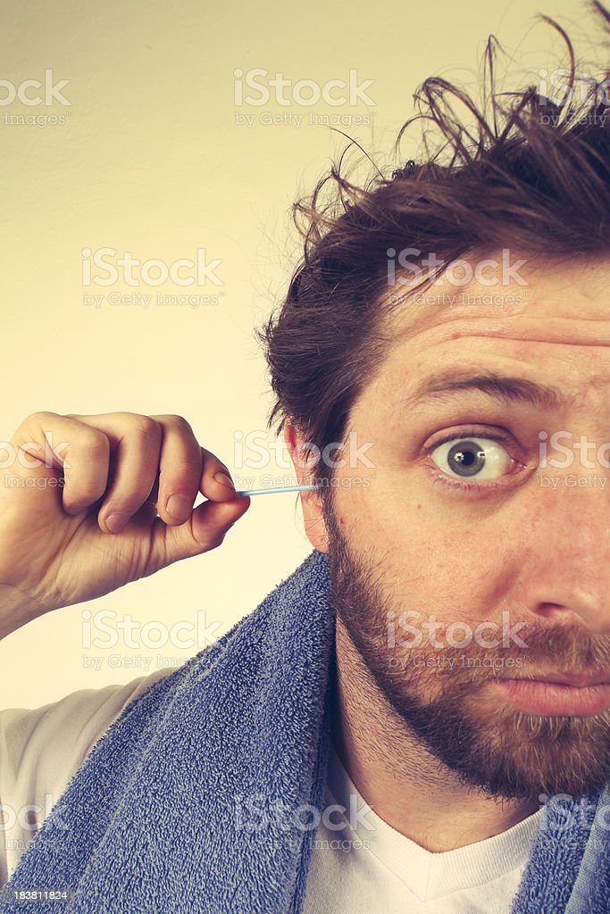 Morning Routine - Clean Out Your Ears royalty-free stock photo