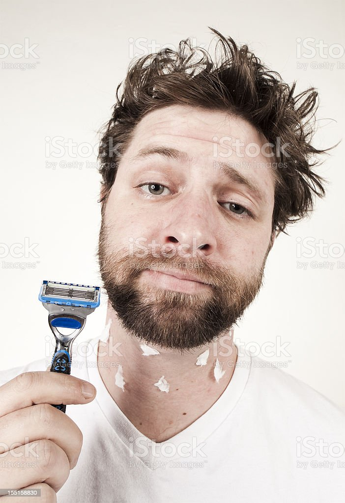 Morning Routine - Ooops, I Cut Myself Shaving! stock photo