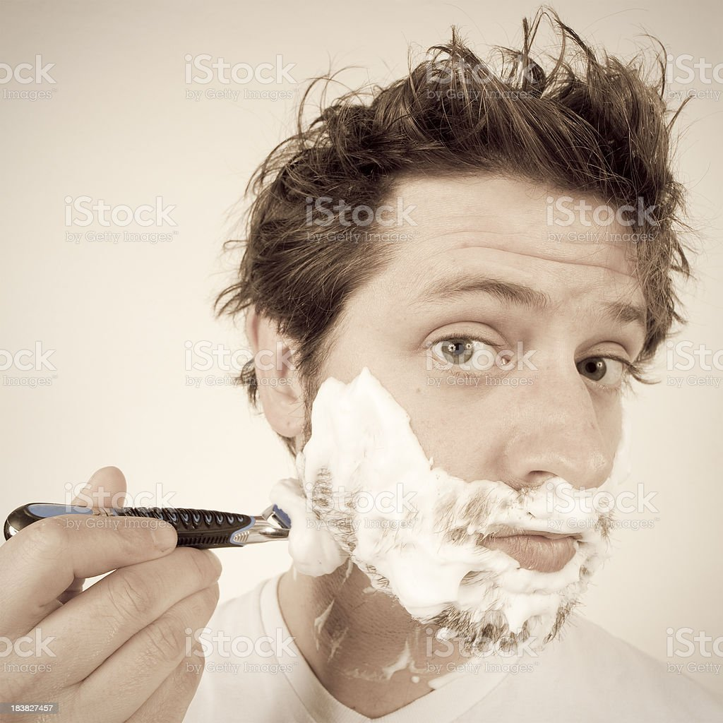 Morning Routine - Shave Your Face stock photo