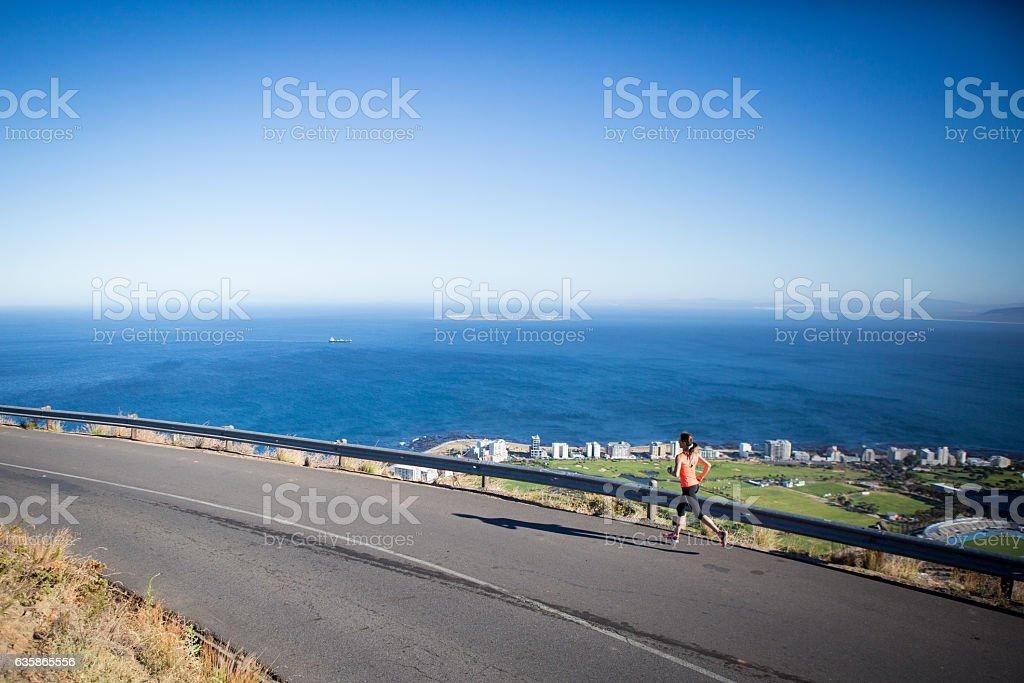 Morning run above the city stock photo