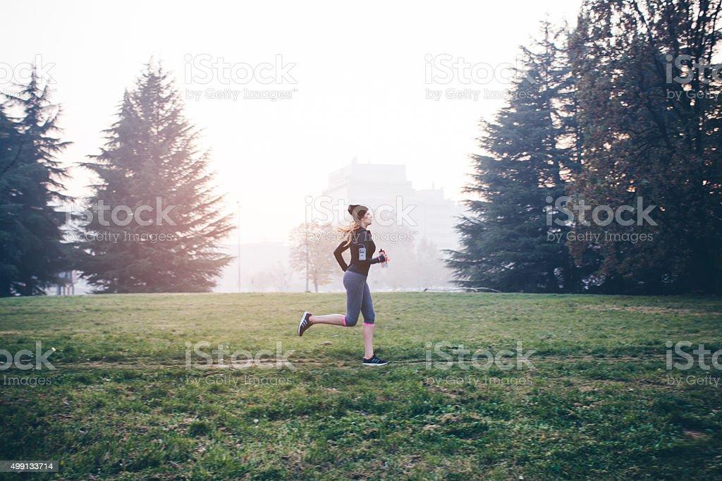 Morning run stock photo