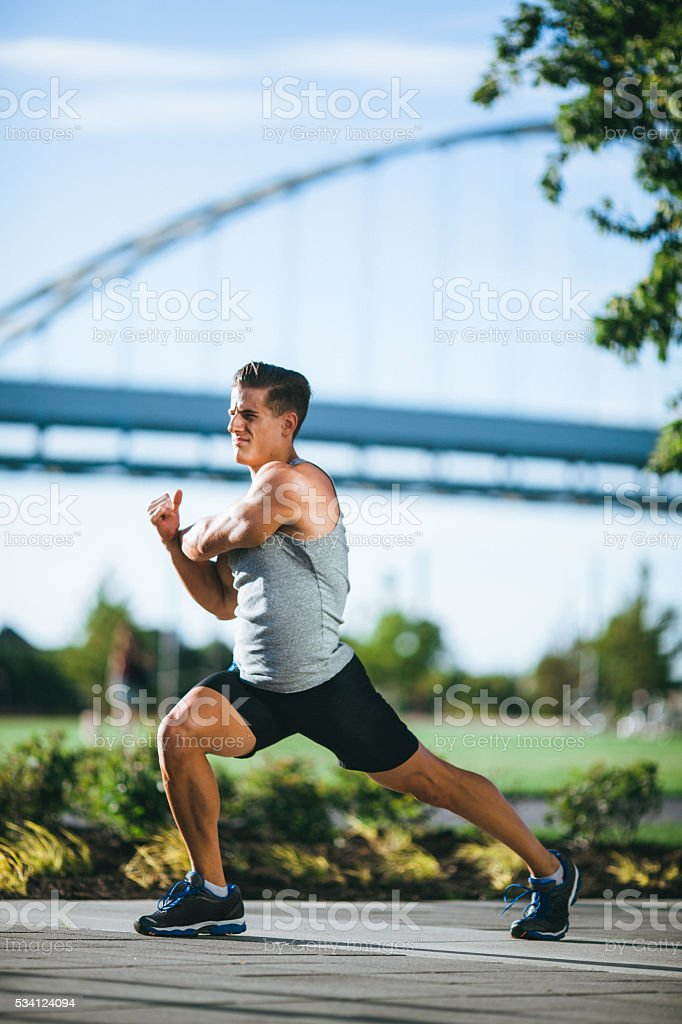Morning Run Stretches in Downtown Portland stock photo