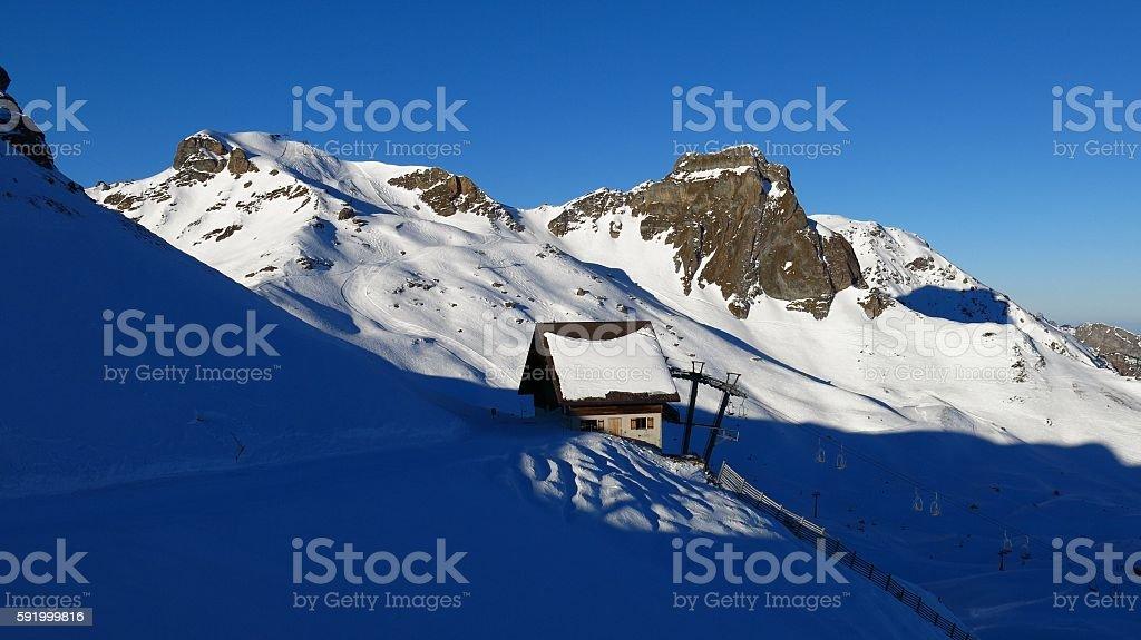 Morning scene in the Flumserberg ski area stock photo